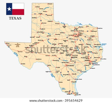 texas road map with flag - stock vector