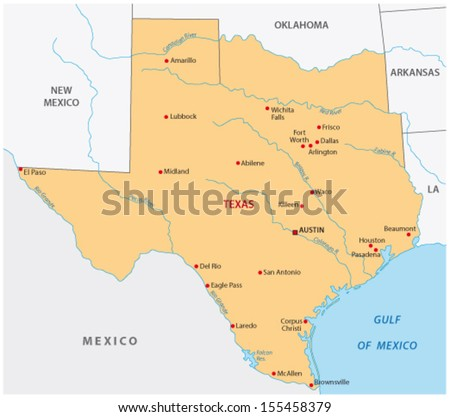 Texas state map - stock vector