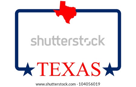 Texas state map, frame and name.