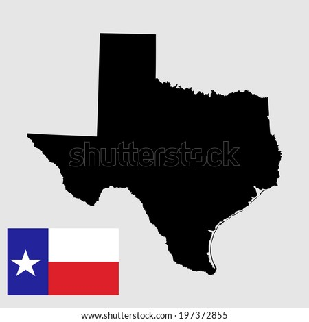 Texas vector map and vector flag high detailed silhouette illustration isolated on gray background. - stock vector