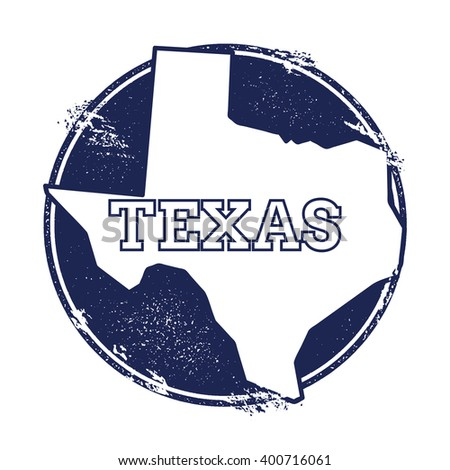 Texas vector map. Grunge rubber stamp with the name and map of Texas, vector illustration. Can be used as insignia, logotype, label, sticker or badge of USA state. - stock vector