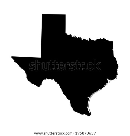 Texas vector map high detailed silhouette illustration isolated on white background. - stock vector
