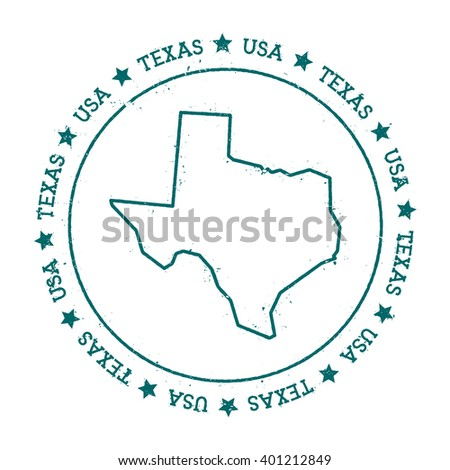 Texas vector map. Retro vintage insignia with US state map. Distressed visa stamp with Texas text wrapped around a circle and stars. USA state map vector illustration. - stock vector
