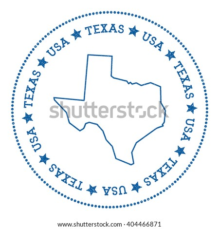 Texas vector map sticker. Hipster and retro style badge with Texas map. Minimalistic insignia with round dots border. USA state map vector illustration. - stock vector