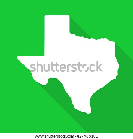 Texas white map,border flat simple style with long shadow on green background - stock vector