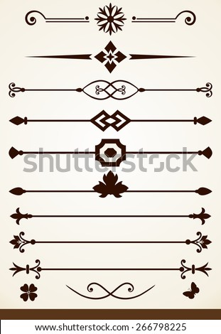 Text and page dividers or decorations - stock vector