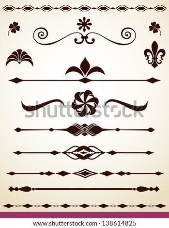 Text and paragraph dividers and decorations - stock vector