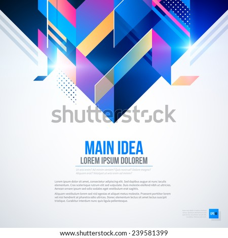 Text background with abstract geometric element and glowing lights. Corporate futuristic design, useful for presentations, advertising and web layouts. EPS10 vector template. - stock vector