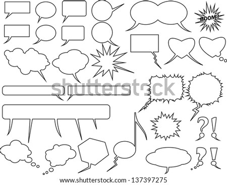 Text balloons. Communication signs. Question, Exclamation, Heart/Love, Music, clouds, textbox, boom, fear/freeze, emotions. Cartoon, Comics elements. - stock vector