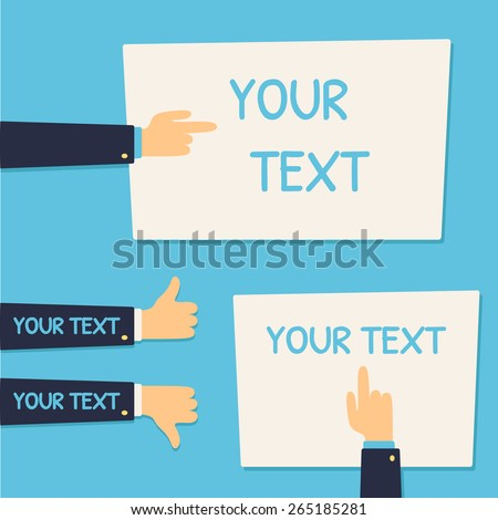 """Text banner template set with pointing hands and """"like"""" and """"dislike"""" hand gestures. - stock vector"""