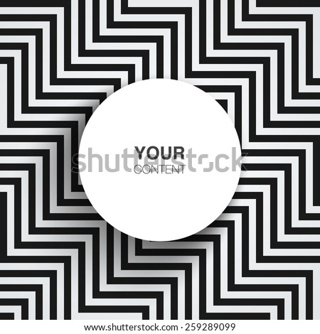 Text box design with shadow on abstract black and white line pattern background vector stock eps 10 illustration - stock vector