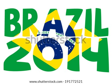 Text Brazil 2014 over brazilian flag with clipping mask, over white background - stock vector