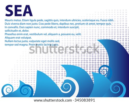 text brochure with water waves - stock vector