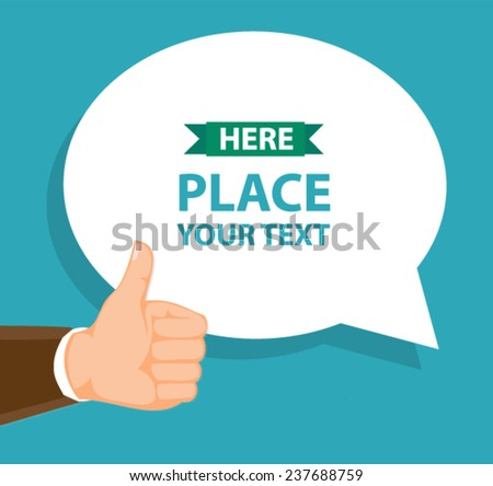 text bubble and thumb-up gesture - flat design vector  - stock vector