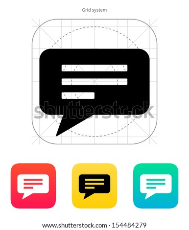Text bubble icon on white background. Vector illustration. - stock vector