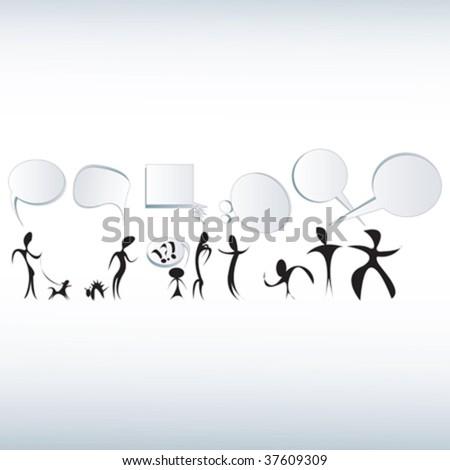 Text bubbles and fabulos caracters illustrations, vector art - stock vector