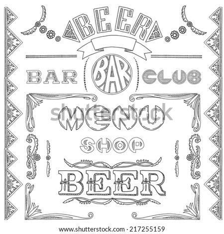 Text captions,logo design,calligraphy. Inscriptions: bar, menu, beer, shop, club - stock vector