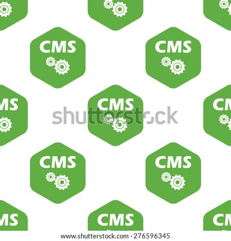Text CMS and two gears in hexagon, repeated on white background - stock vector