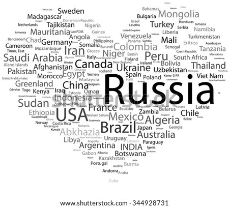 text concept tag cloud in heart world nations countries - stock vector