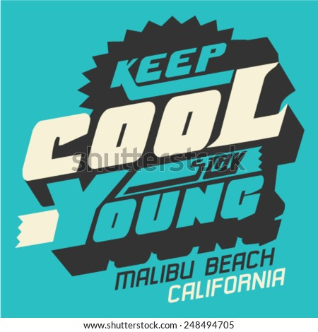 Text Design for California  Concept on  Turquoise Background. Vector illustration - stock vector