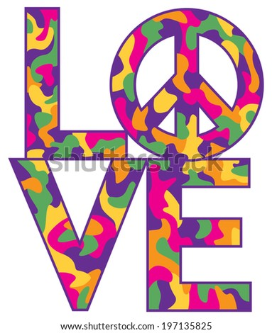 Text design of LOVE with Peace Symbol in a colorful camouflage pattern. - stock vector