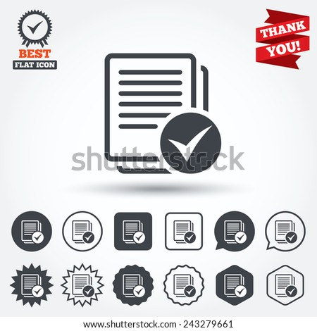 Text file sign icon. Check File document symbol. Circle, star, speech bubble and square buttons. Award medal with check mark. Thank you ribbon. Vector - stock vector