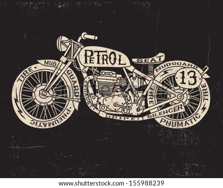 Text Filled Vintage Motorcycle - stock vector