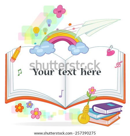 text form with school books vector