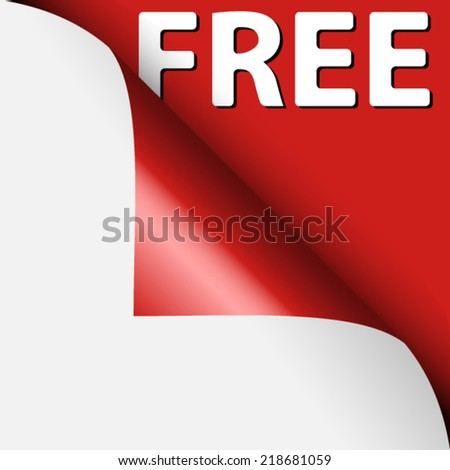 Text free under curled corner of red page - stock vector