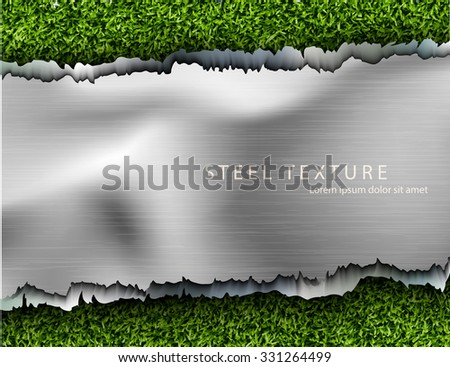 text from the metall background with shadows and grass - stock vector