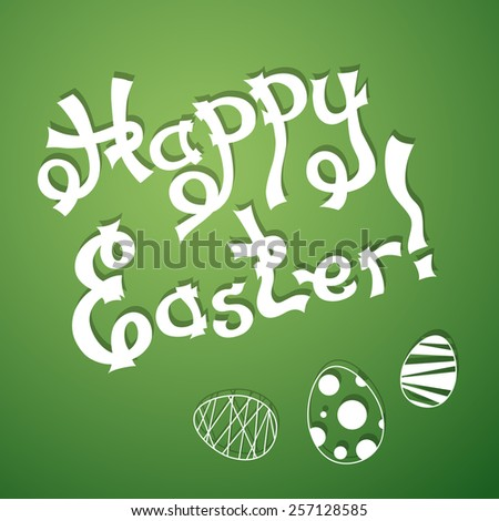 Text Happy Easter with festive eggs. Vector illustration in origami style with shadows. - stock vector