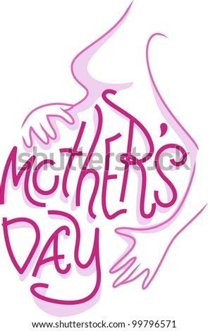 Text Illustration Celebrating Mothers' Day - stock vector