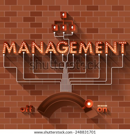 Text MANAGEMENT with ball light on background brick. - stock vector