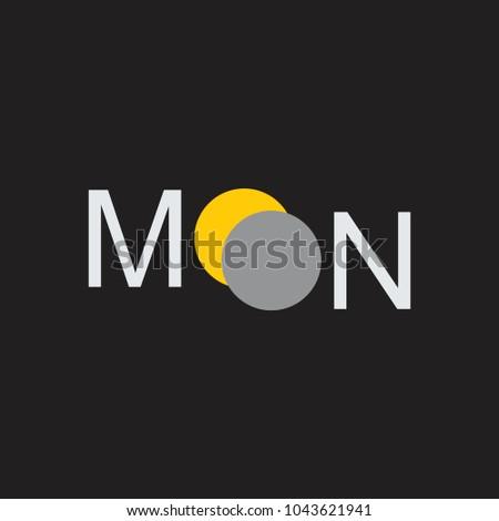 Text Moon Eclipse Symbol Logo Vector Stock Vector 1043621941