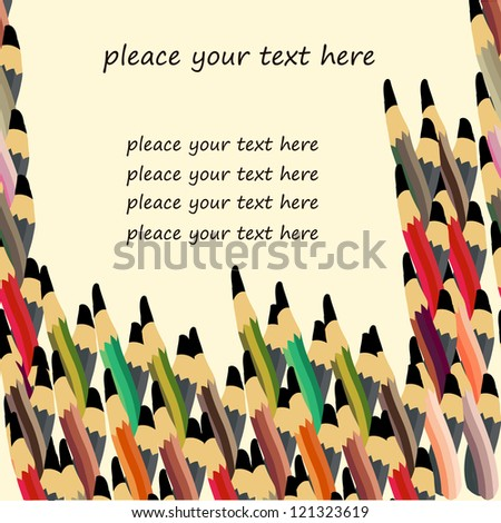 text place with colored pencils - stock vector