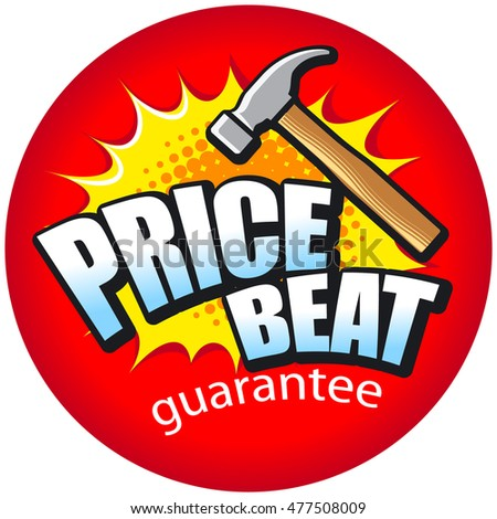Text PRICE BEAT with a hammer and blast. Vector illustration.