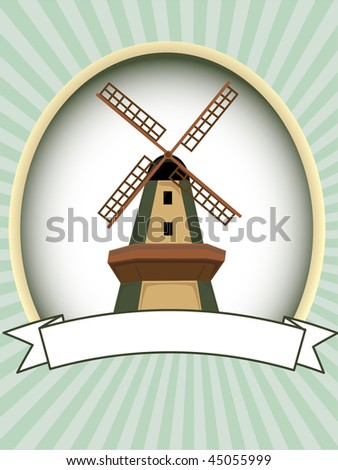 Text ready windmill product label food or drink retail marketing - stock vector
