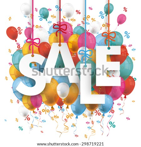 Text Sale with colored balloons and percents on the white background. Eps 10 vector file. - stock vector