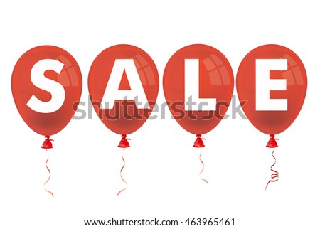 Text Sale with red balloons on the white background. Eps 10 vector file.