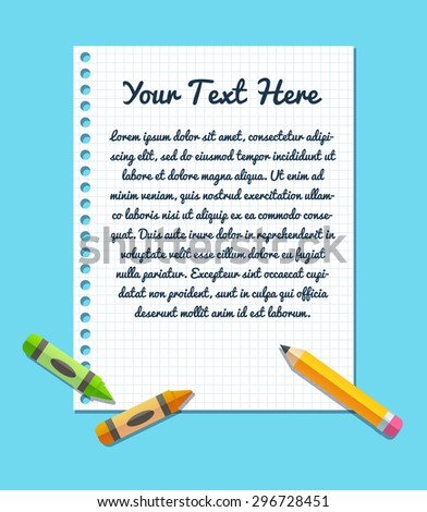 Text Template On Sheet Lined Notebook Stock Vector