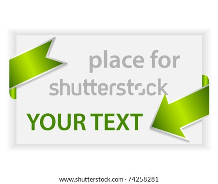 Text template with green arrow - stock vector