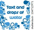 Text template with many drops of water - stock vector