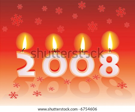 "Text ""2008"" with candles. Vector illustration"