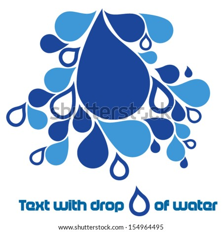 Text with drops of water - stock vector