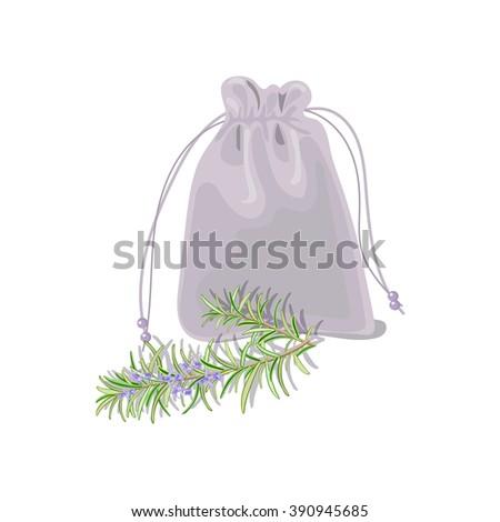 Textile sachet with herbs. Vector illustration. - stock vector