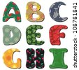 textile scrapbook alphabet on white background part 1 - stock vector