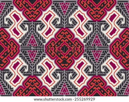 Textile Seamless Pattern,abstract Intricate seamless pattern background, ethnic ornamental fabric design - stock vector