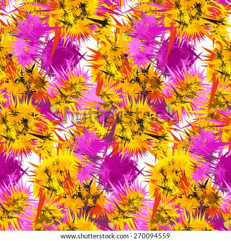 Textile seamless pattern of flowers with texture yellow watercolor - stock vector
