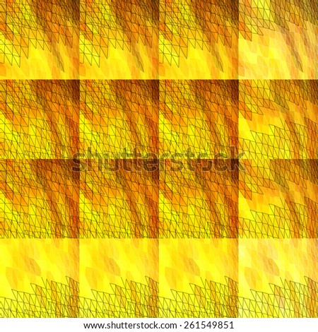 Textile seamless pattern of yellow triangles in warm colors - stock vector