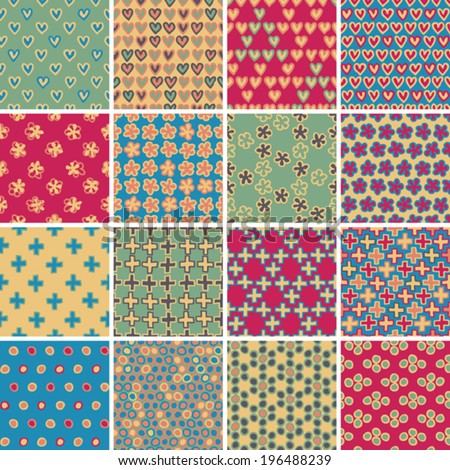 Textile seamless pattern SET No.9 of 16 different playful illustrations. Illustration is in eps8 vector mode, background on separate layer.